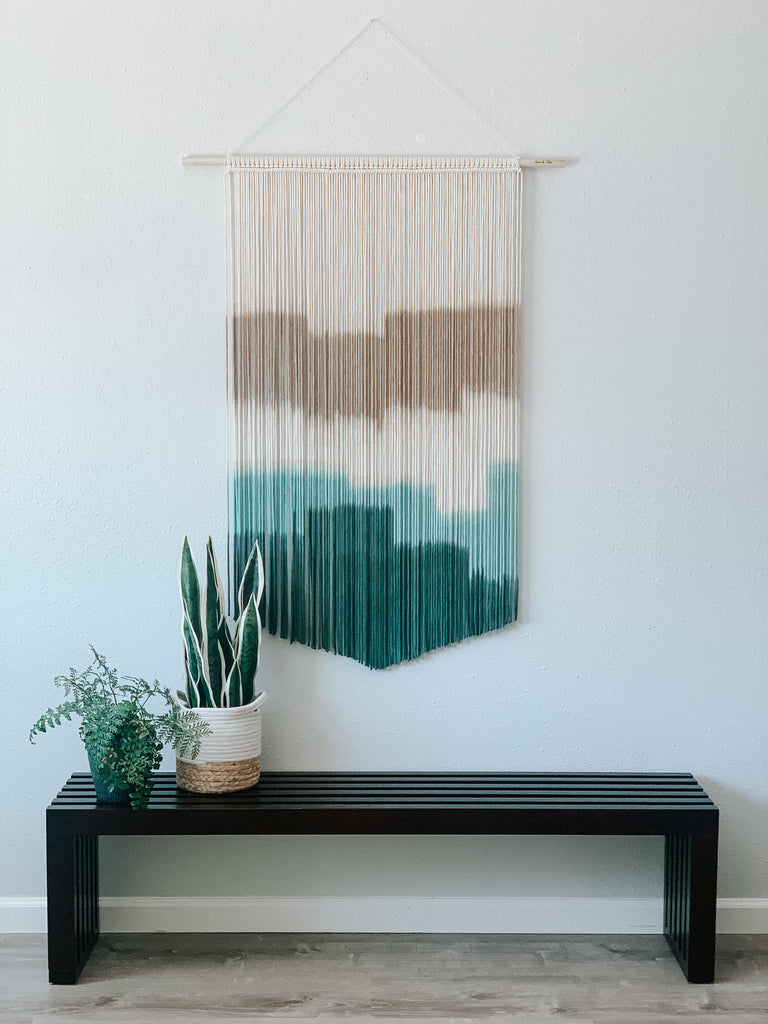 Large Teal Macrame Wall Hanging / Modern Fiber Art Wall Decor / Boho Decor / Mid Century Modern Wall Art / Extra Large Macrame