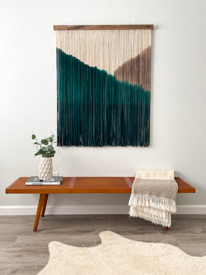 Extra Large Emerald Green and Taupe Macrame Wall Hanging / Fiber Art on Walnut / Mid Century Modern Wall Decor / Dyed Macrame