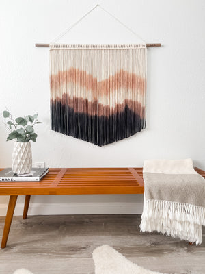 Large Brown and Black Hand Dyed Modern Macrame Wall Hanging / Mountain Inspired Fiber Art / Boho Decor / Mid Century Modern Art