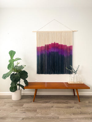 Purple and Mauve Extra Large Modern Macrame Wall Hanging / Large Sunset Inspired Wall Hanging / Dyed Macrame Wall Art / Fiber Art