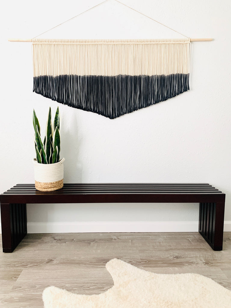 Extra Large Black Macrame Wall Hanging / Dyed Woven Wall Hanging / 'Schala'