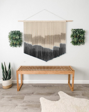Extra Large Black and Gray Macrame Wall Hanging / Dyed Woven Macrame Wall Hanging / Fiber Art / Mid Century Modern Wall Decor