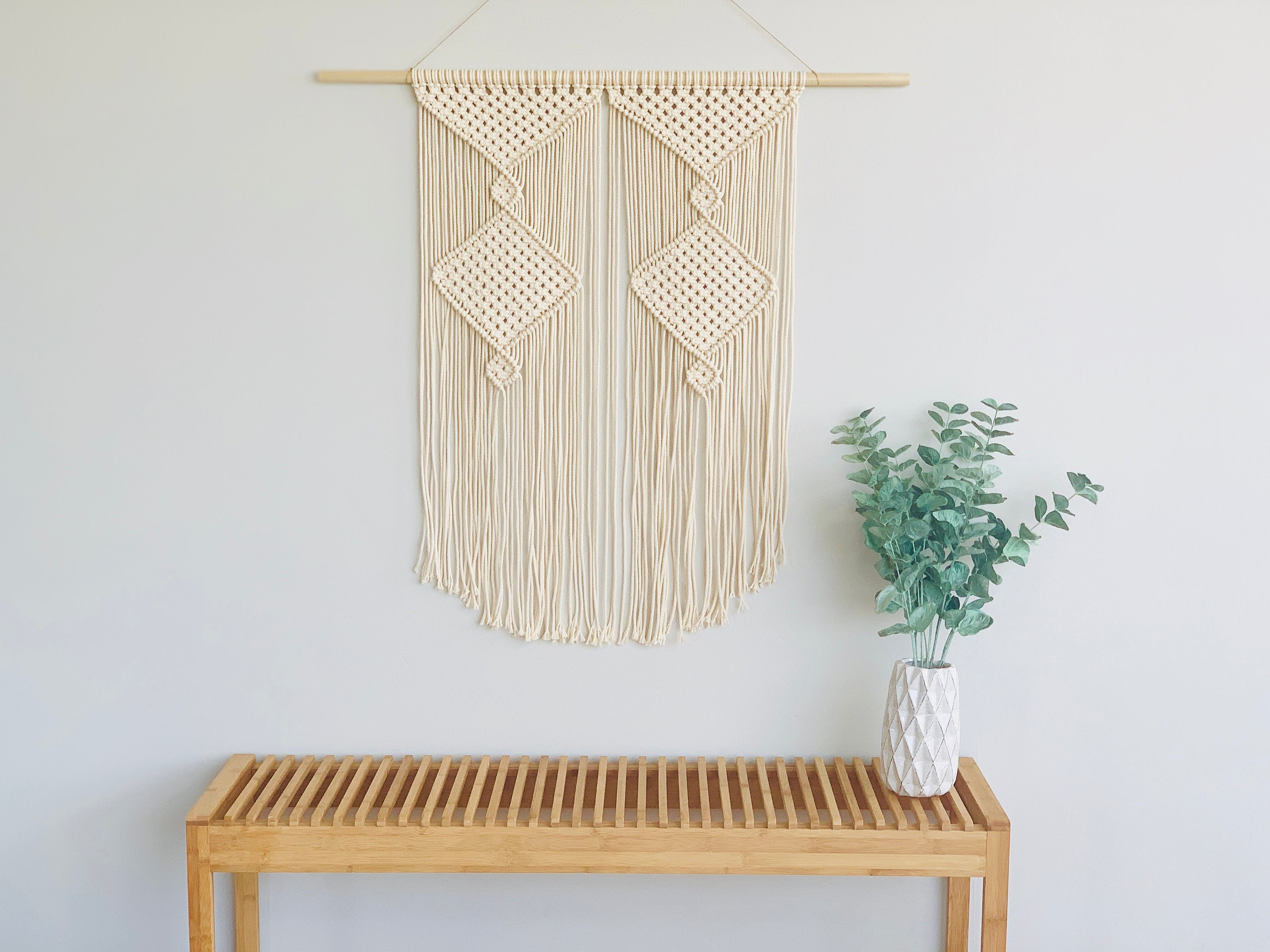 "Large Modern Macrame Wall Hanging / Extra Large Unique Design / Fiber Art Wall Decor / Boho Decor /  ""Gywen"""