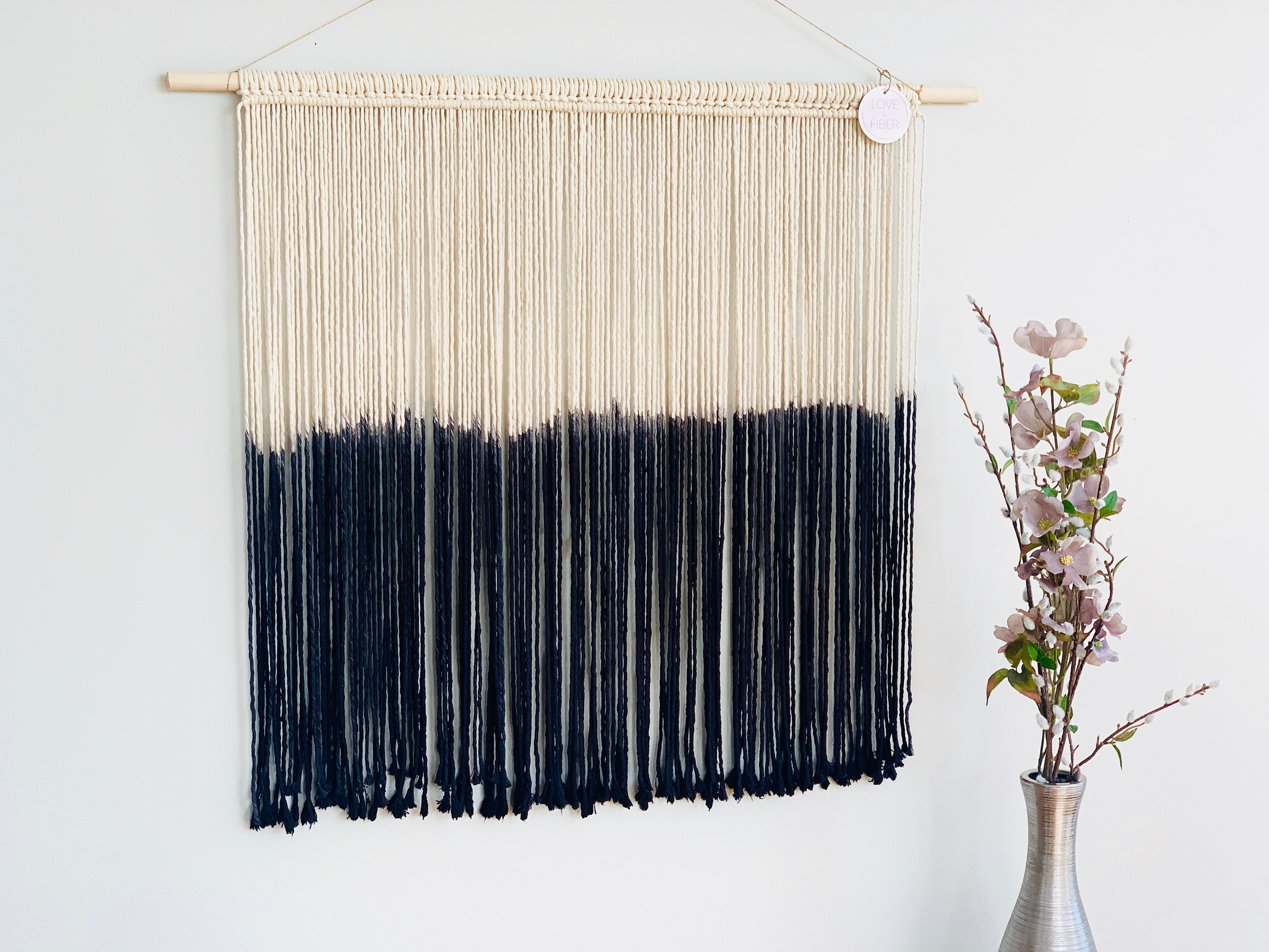 Modern Macrame Wall Hanging, Dyed Woven Wall Art, Living Room Decor