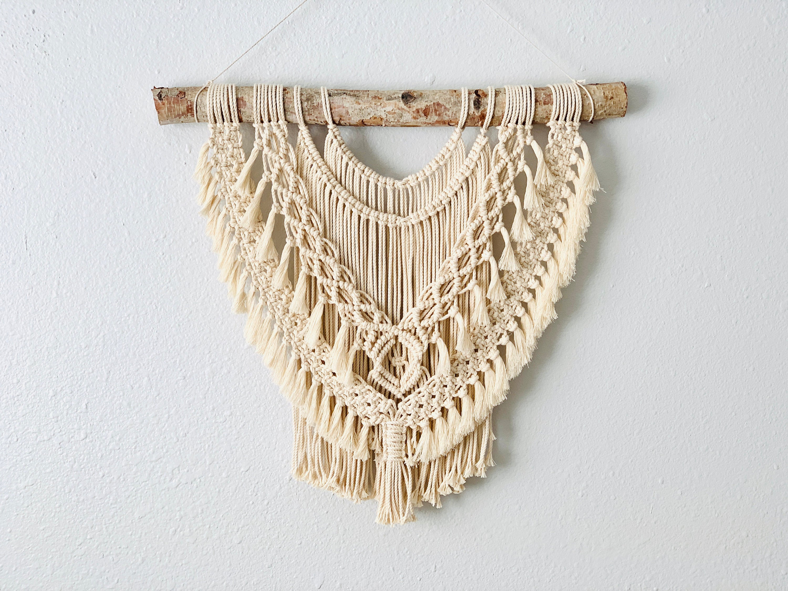 Driftwood Bohemian Macrame with Fringe, Large Beaded Macrame Wall Hanging, Boho Fiber Art