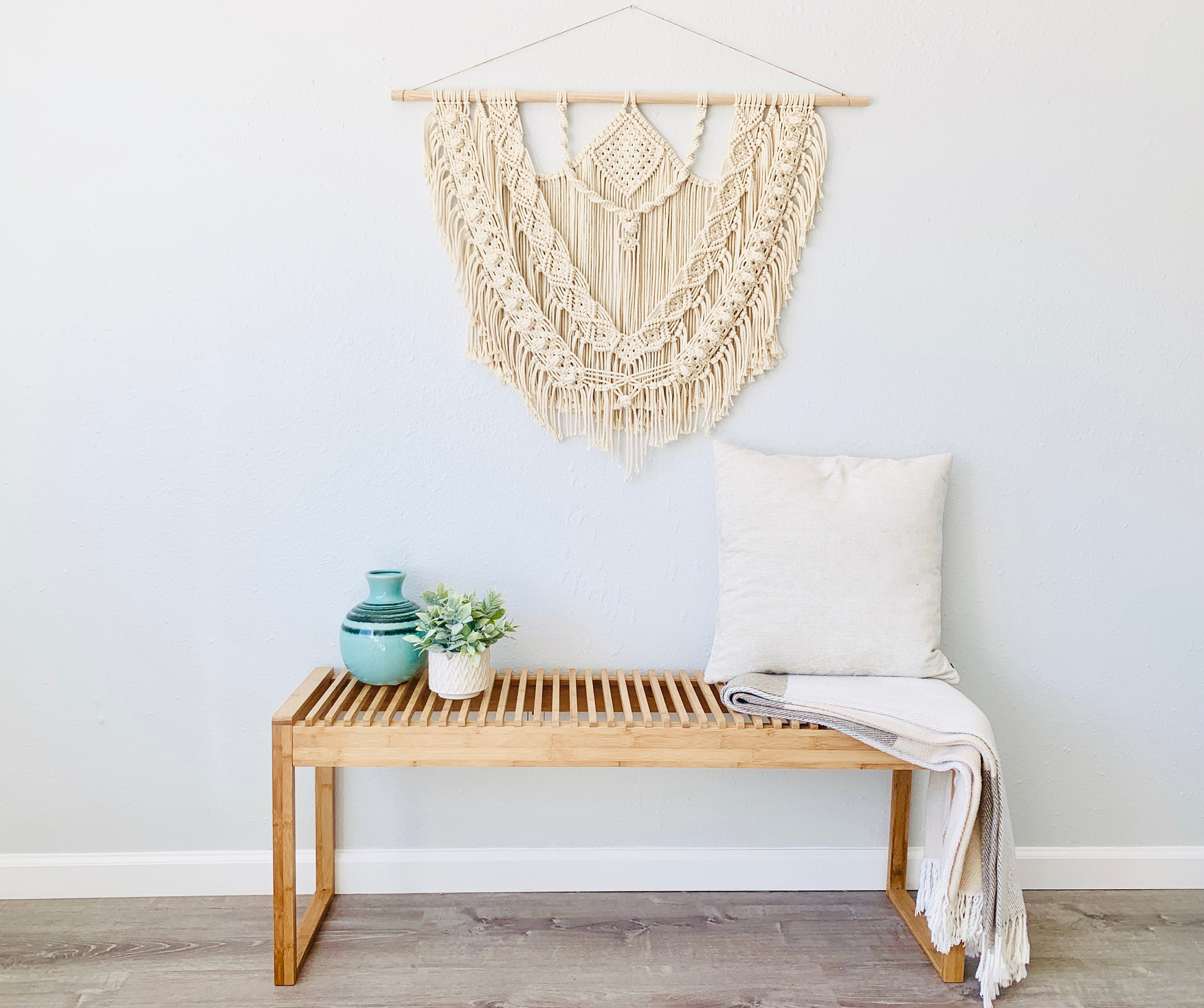 Large Layered Bohemian Macrame Wall Hanging, Diamond Macrame Wall Decor, Boho Decor, Fiber Art, Modern Macrame, Bohemian Decor