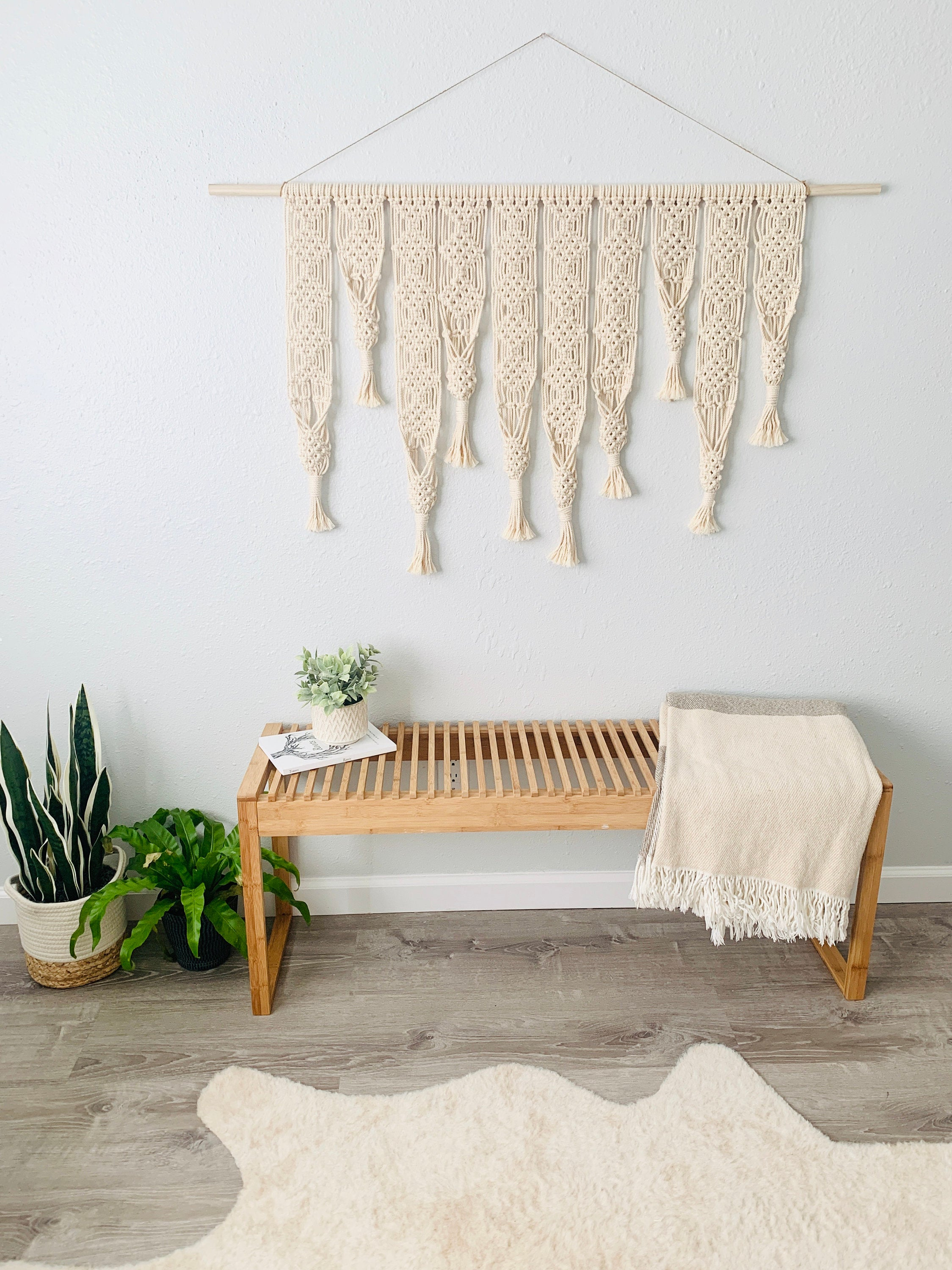 Wide Macrame Wall Hanging with Air-plant Hangers, Headboard Macrame Plant Hanger, Bohemian Fiber Art, Large Macrame Wall Art