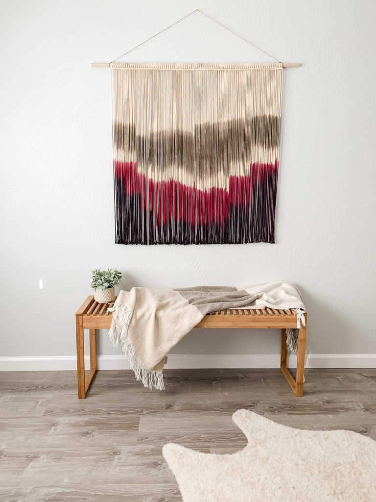 Extra Large Hand Dyed Modern Macrame Wall Hanging / Fiber Art / Boho Decor / Large Colored Macrame Wall Decor / Mid Century Modern Art