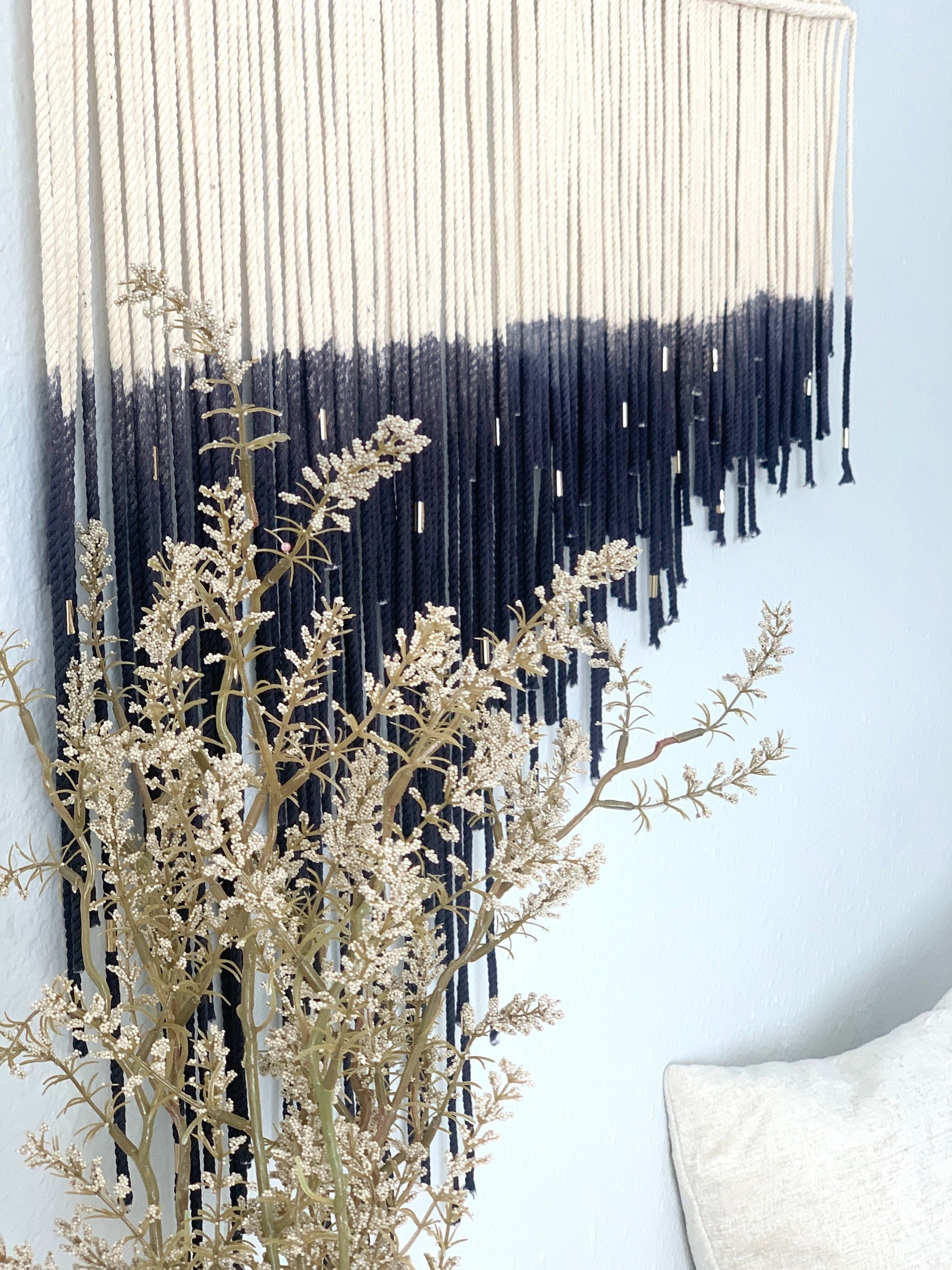 Large Black Staggered Macrame Wall Hanging, Modern Macrame Wall Art, Black Macrame, Fiber Art, Boho Decor, Modern Home Decor