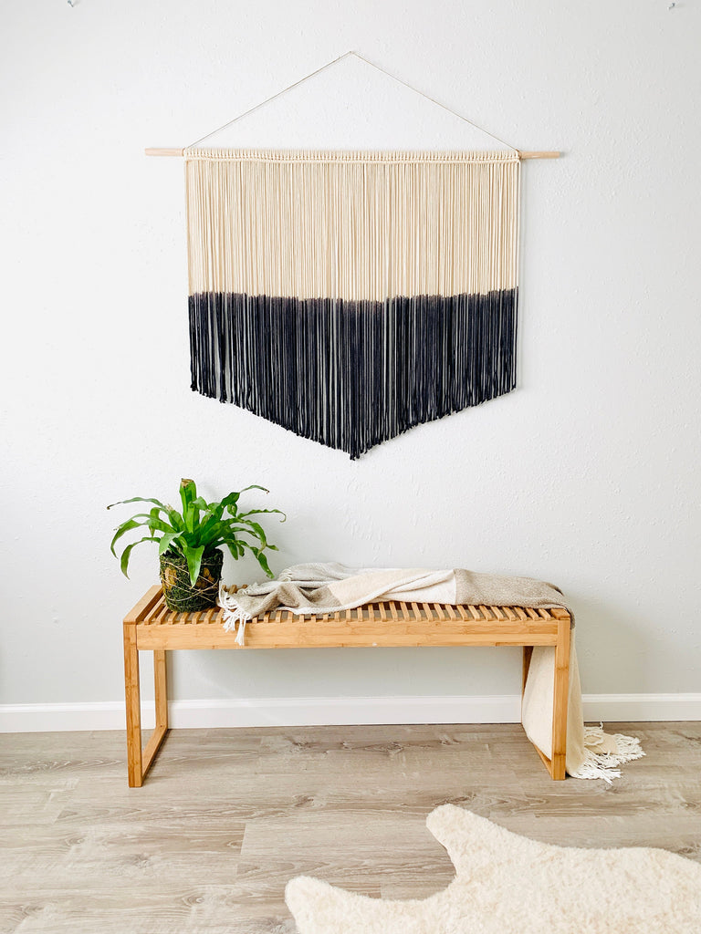 Modern Black Macrame Wall Hanging, Large Woven Wall Art, Modern Wall Decor, Extra Large Macrame, Woven Tapestry, Boho Macrame