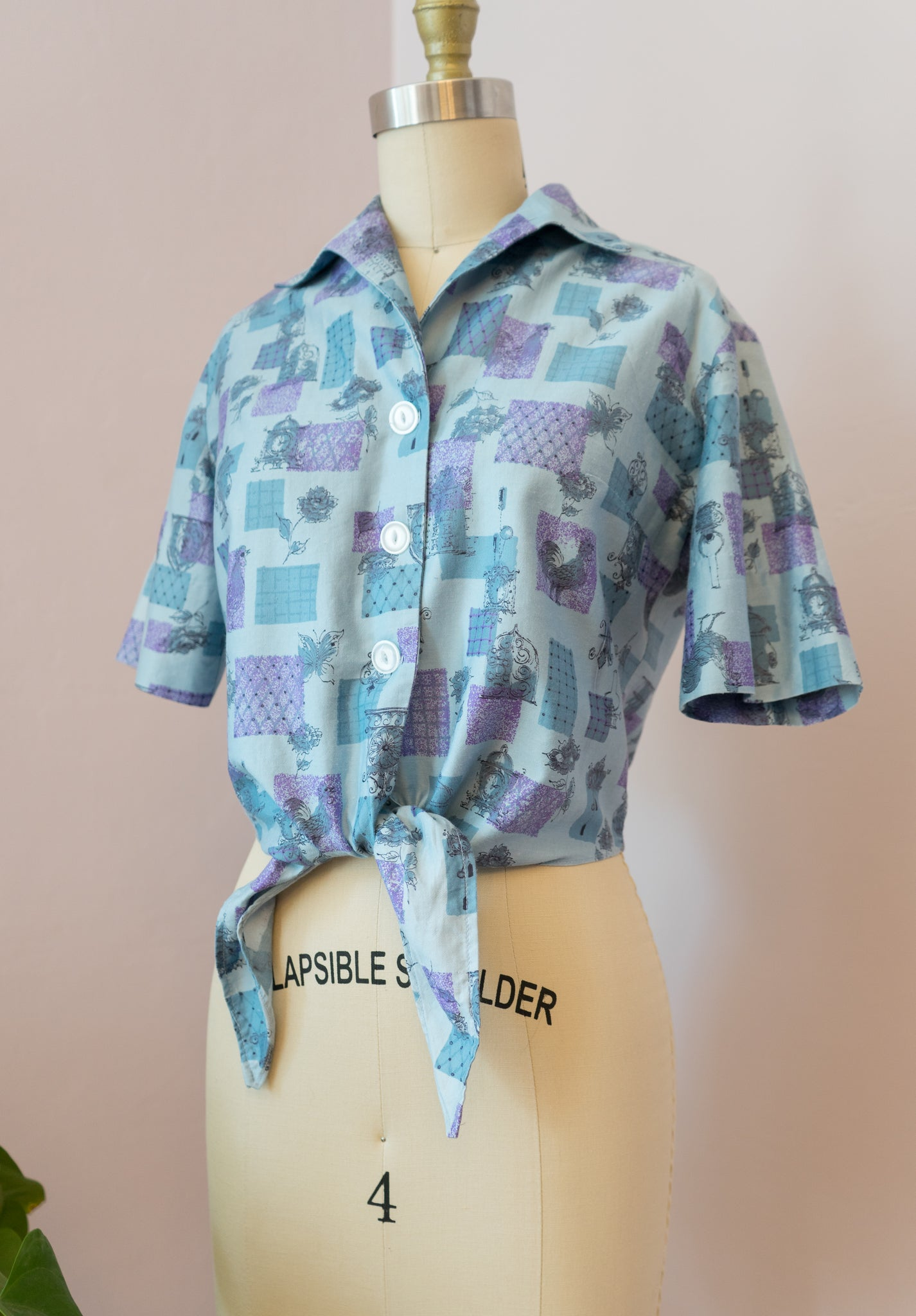 1950's Clocks and Rooster Novelty Blouse