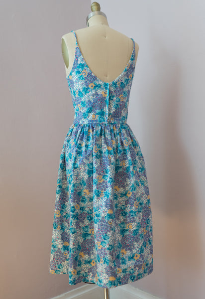 1960's Blue Posy  Sundress by Serbin