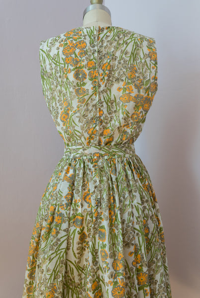 1960's Green and Orange Floral Day Dress
