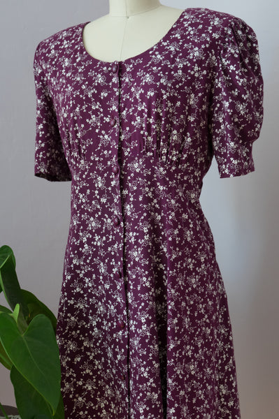 1990's Dainty Floral Wine Dress