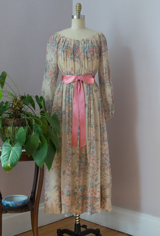 Late 1960's or Early 1970's Flora Meadow Dress by RONA