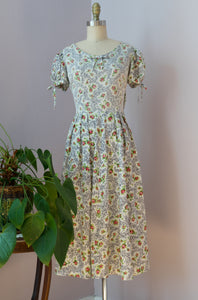 1950's Puffed Sleeve Rose Dress by Toni Todd