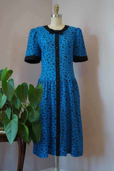 1980's Black and Blue Dainty Floral Dress
