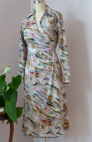 1970's Floral Brushstrokes Wrap Dress