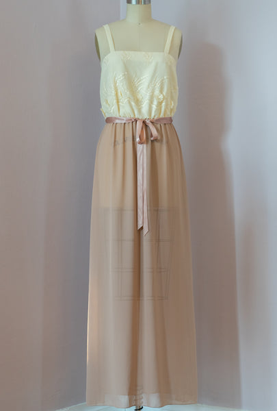 1970's Creamy Latte Maxi Dress