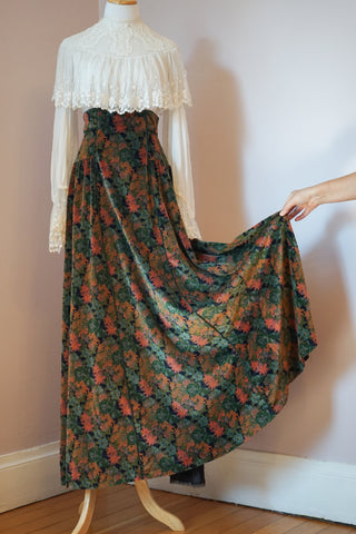 1970's Botanicals and Butterflies Maxi Skirt by Chessa Davis