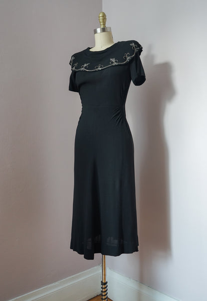 1940's Iconic Black Dress with Draped Beaded Collar