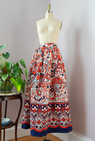 1970's Quilted Maxi Skirt