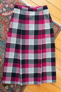 Raspberry, Cream and Black Plaid 1950's Wool Skirt