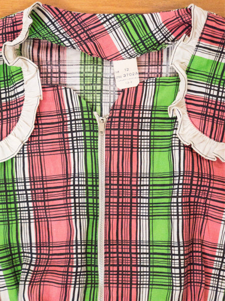1940's Pink and Green Plaid Day Dress