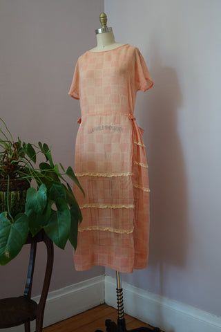 Vintage 1920's Sheer Coral Cotton Dress