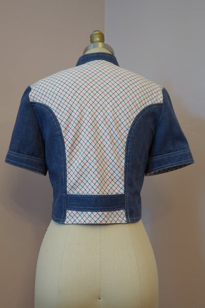 1970's Jonathan Logan Plaid and Denim and Plaid Two Piece Set