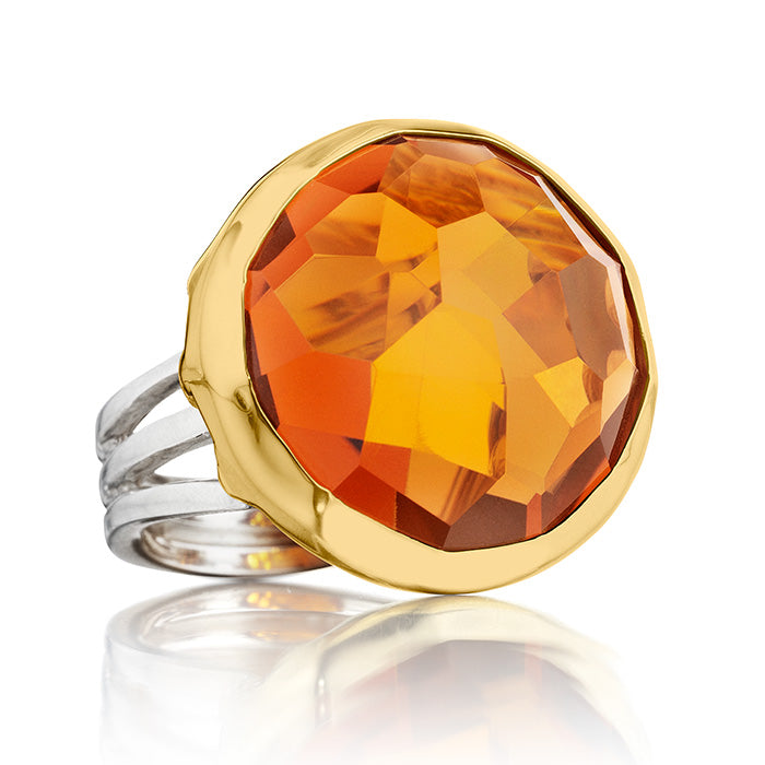 18K Gold & Sterling Silver Ring with Citrine