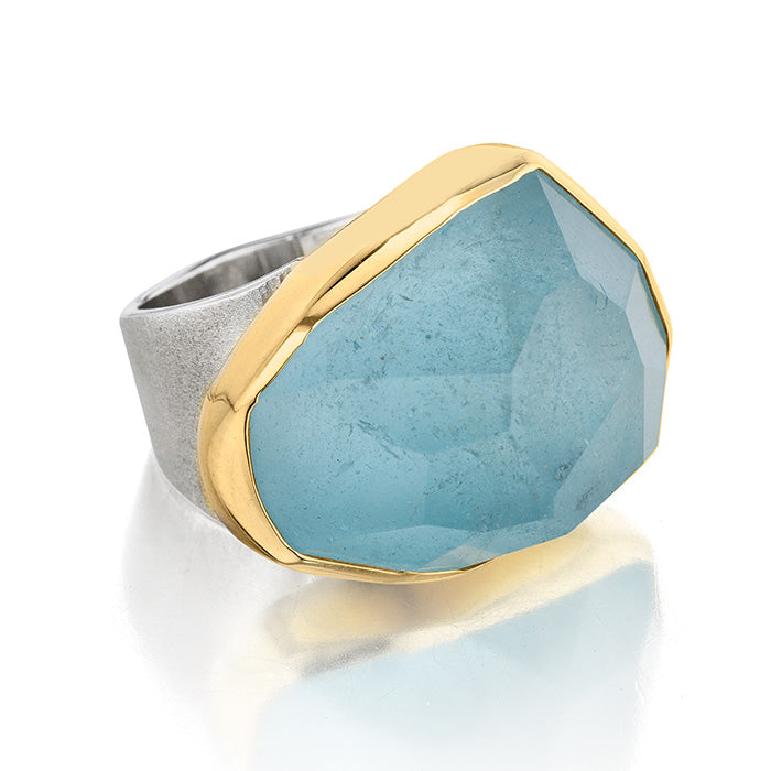 18K Gold & Sterling Silver Ring with Aquamarine