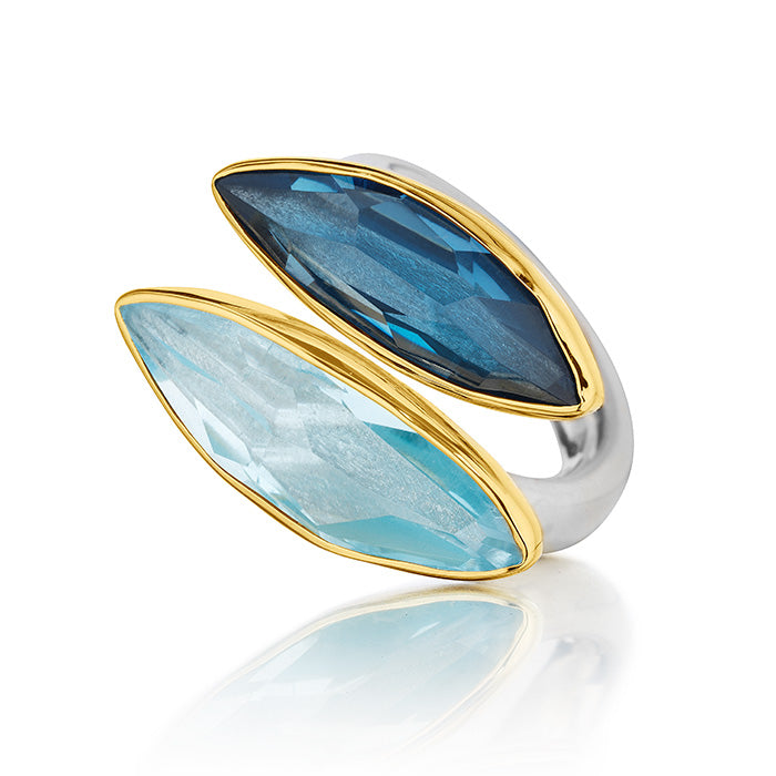 18Kt Gold & Sterling Silver Ring with Aquamarine and London Blue Topaz