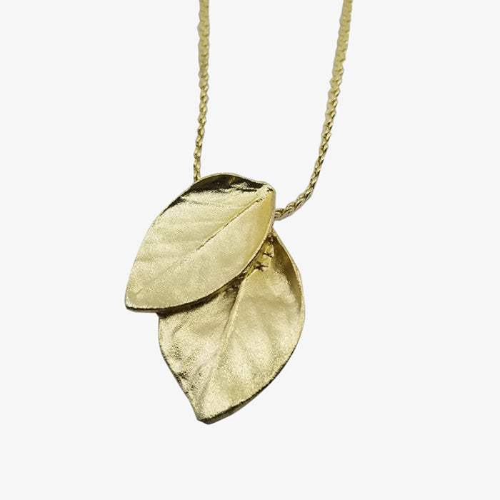 14K Gold Plated Double Leaf Necklace