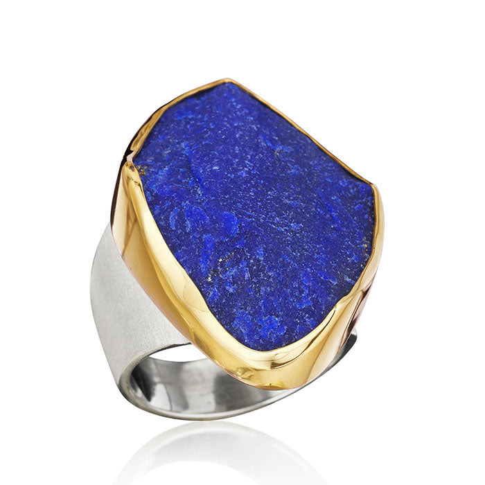 18K Gold & Sterling Silver Ring with Lapis