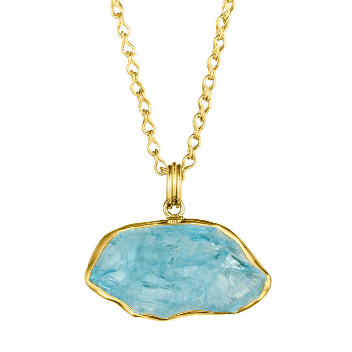 18K Gold & Sterling Silver Pendant with Rough Aquamarine