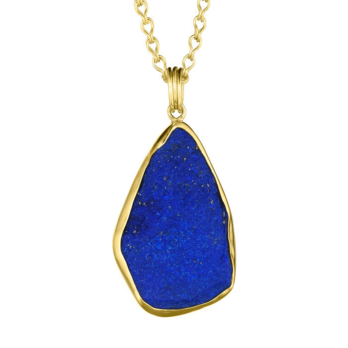 18K Gold & Sterling Silver Pendant with Lapis
