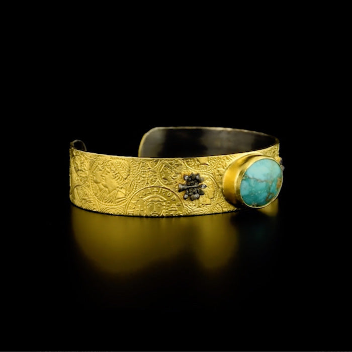 24K Gold over Silver Wide Cuff Bracelet with Turquoise and Diamonds