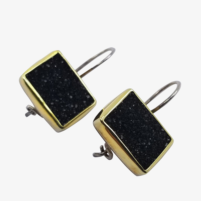 Black Onyx Druzy Rough Cut Stone Pendant and Earrings Set