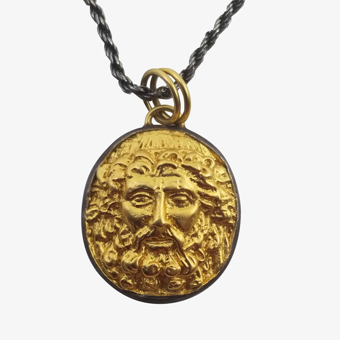 24K Gold over Anodized Silver Pendant - Ancient Warrior Figure