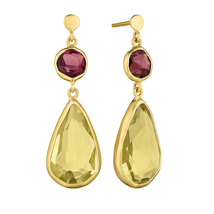 18K Yellow Gold Earrings with Hand cut Pink Tourmaline and Lemon Quartz stones