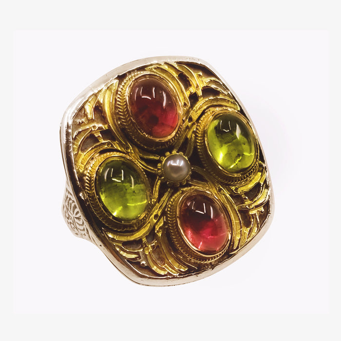 Sterling Silver 18K Gold Tourmaline Ring