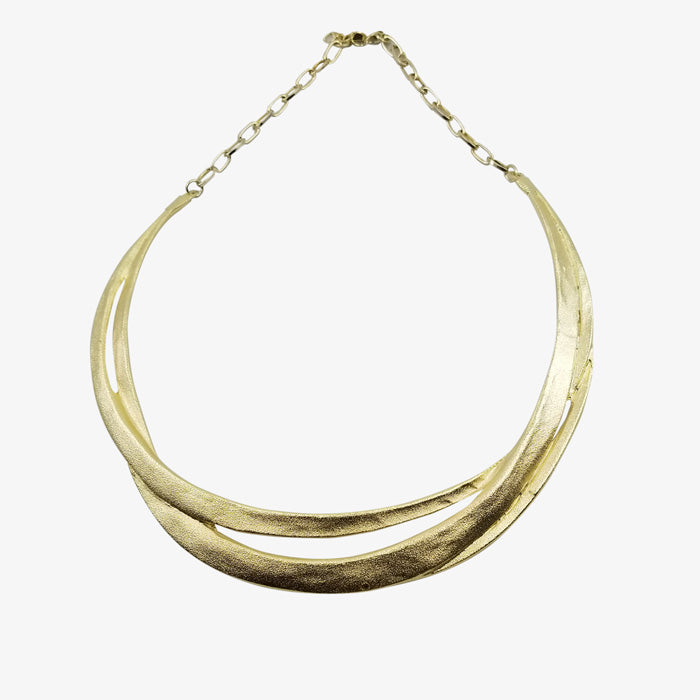 14K Gold over Bronze Necklace Matte finish