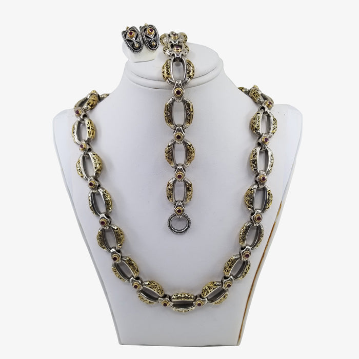 Sterling Silver and 18K Gold Greek Necklace with Ruby stones
