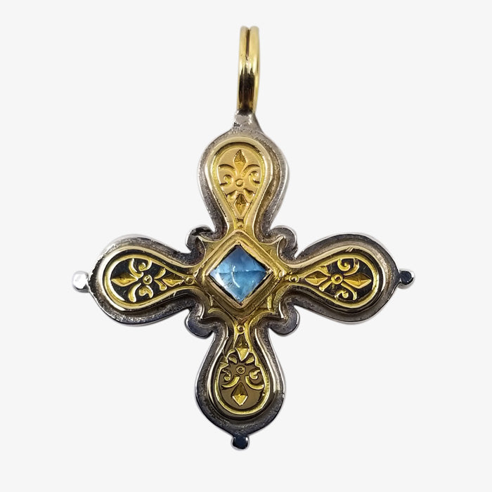 Sterling Silver and 18K Gold Byzantine Cross