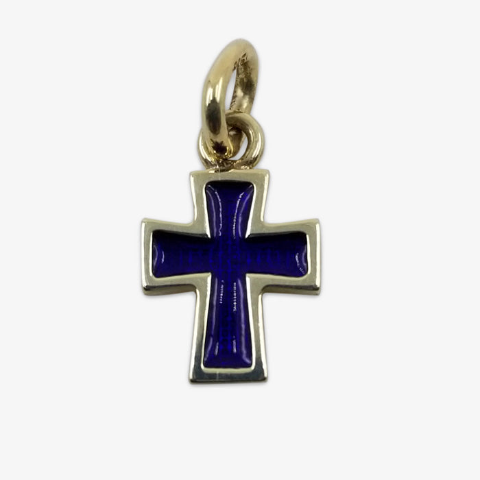 14K Solid Gold Cross, Navy Blue Enamel