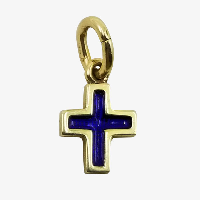 18K Gold Cross with Navy Blue Enamel Accents