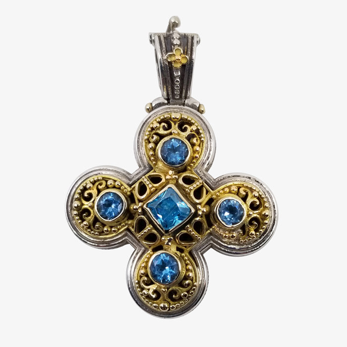 Sterling Silver and 18K Cross with Blue Topaz stones
