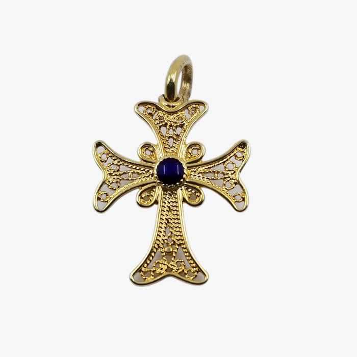 18K Gold Cross Filigree Style, Navy Blue Center Stone