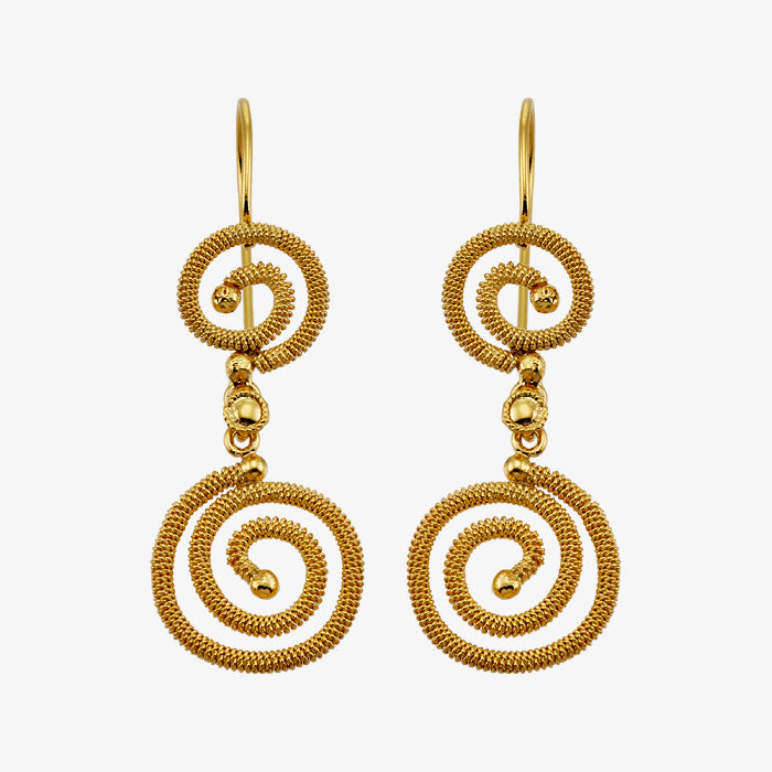 18K Solid Yellow Gold Wire Wrap Earrings